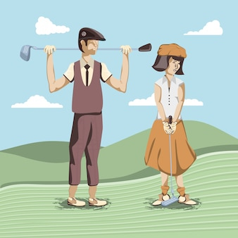 Golf players couple in the course
