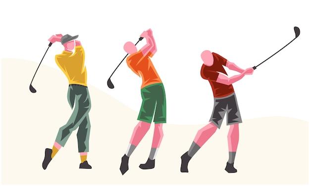 다른 포즈의 골프 선수. 확장 가능하고 편집 가능한 일러스트레이션