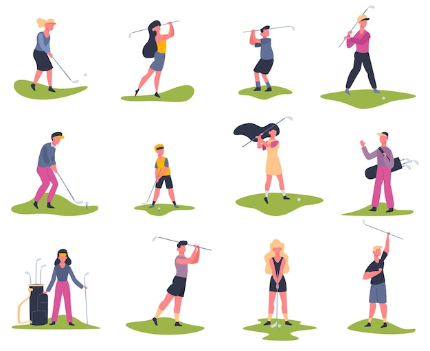 Golf players. people playing golf, golfers striking ball, outside summer activity, golf characters  illustration set. game golf and sport man player