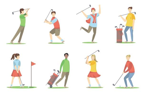 골프 선수 세트. 잔디밭에서 골프를 치는 브래지어, 재미, 활동을 즐기는 만화 사람들. 평면 그림