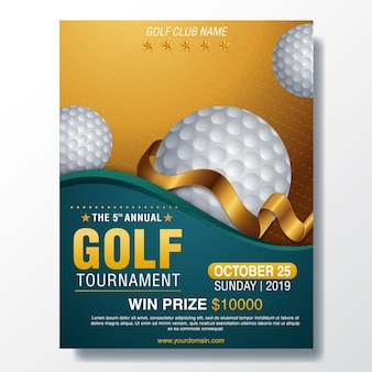 Golf poster vector. sport event announcement