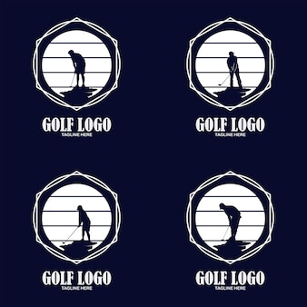 Golf premium logo, elegant vintage sport label for golf championship, club, business card vector illustration on a white background