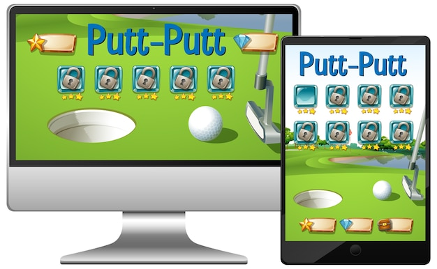 Golf or putt putt game on different electronics gadget screens