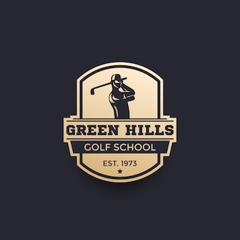Golf school logo, emblem with golfer