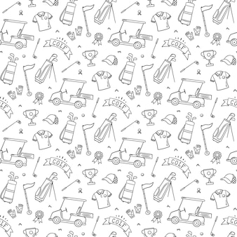 Golf seamless pattern in doodle style. hand drawn vector illustration on white background