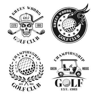 Golf set of four vector isolated emblems, badges, labels or logos in retro style