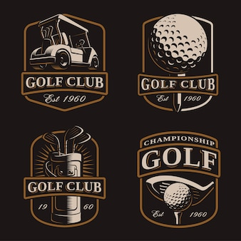 Гольф-набор со старинными логотипами, бейджами, эмблемами на темном фоне. текст находится на отдельном слое.