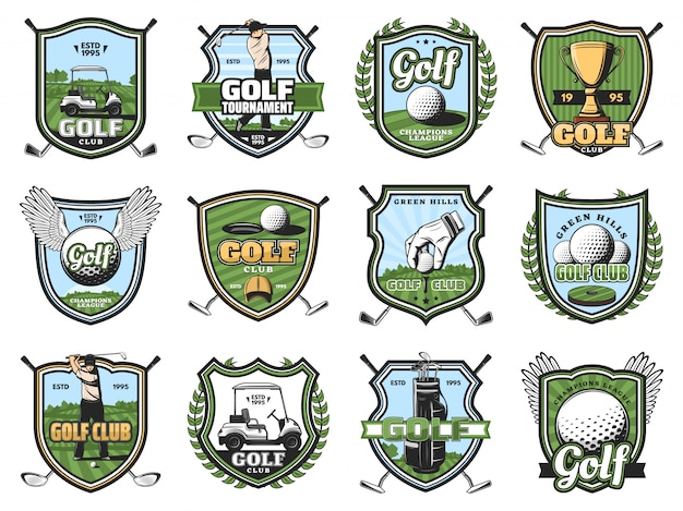 Golf sport balls, clubs and golfers, trophy, tee
