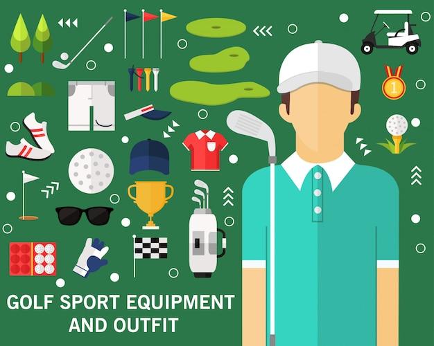 Golf sport equipment concept background