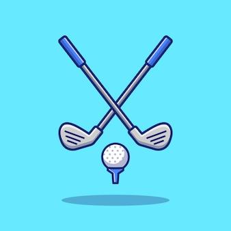 ゴルフスポーツアイコンイラスト。分離されたスポーツゴルフアイコンコンセプト。フラット漫画スタイル
