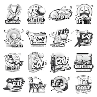 Golf sport icons of balls, clubs, tee, holes, flag
