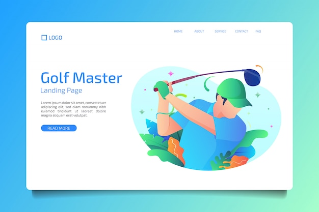 Golf sport landing page in flat style