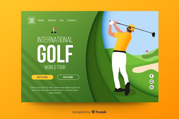 Golf sport landing page