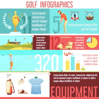 Golf sport popularity by country in worlds statistics and best equipment choices infographic