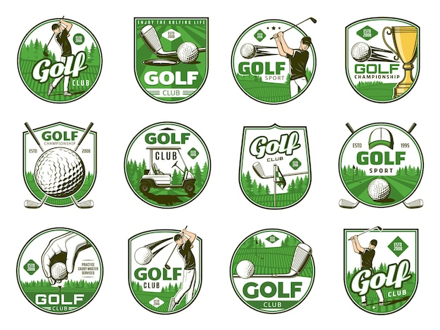 Golf sport vector icons of balls, clubs, tee and holes, golfer, flags and trophy cup. golf player with equipment, cart and uniform cap on green grass play field or course isolated badges and icons