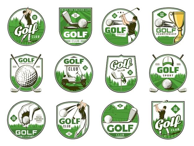 Гольф спортивные векторные иконки мячей, клюшек, тройников и лунок, игроков в гольф, флагов и трофейных кубков. игрок в гольф с оборудованием, тележкой и форменной кепкой на игровом поле с зеленой травой или изолированными значками и значками поля