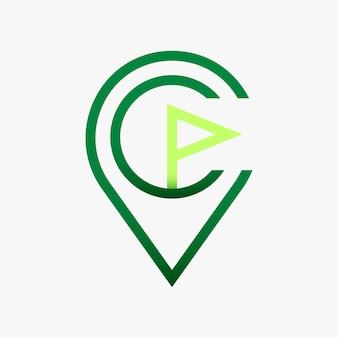 Elemento di logo di sport di golf, vettore di illustrazione di gradiente verde