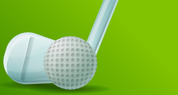 Golf stick ball illustration, cartoon style