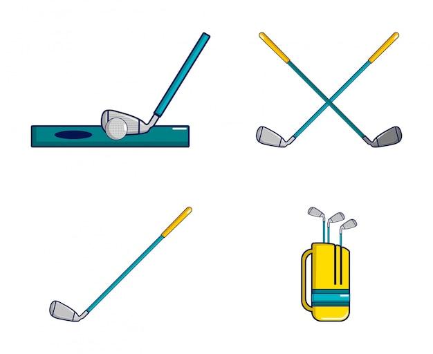 ゴルフスティックのアイコンを設定します。ゴルフスティックベクトルアイコンセットの漫画セットの分離