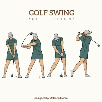 Golf swing collection with woman