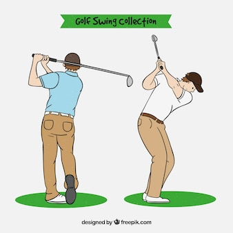 Golf swings collection in hand drawn style