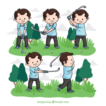 手で描かれたスタイルのゴルフスウィングコレクション