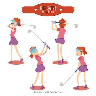 골프 스윙 컬렉션을 손으로 그린 스타일