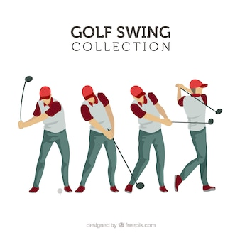 Golf swings collection with man in flat style