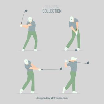 Коллекция качелей для гольфа с мужчиной в плоском стиле