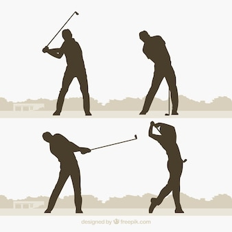 Golf swings collection with silhouette in flat style