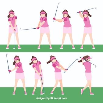 Collezione di golf swing con donna in stile piatto