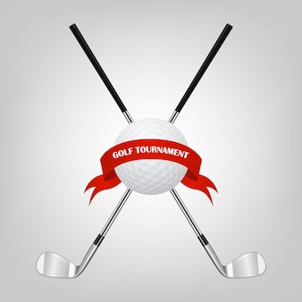 Golf symbols for your design - ball and golf clubs with ribbon.