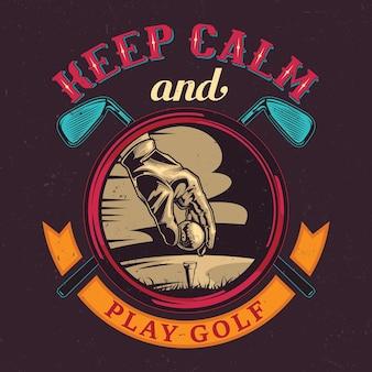 선수 손, 공 및 두 개의 골프 클럽의 일러스트와 함께 골프 테마 티셔츠 디자인