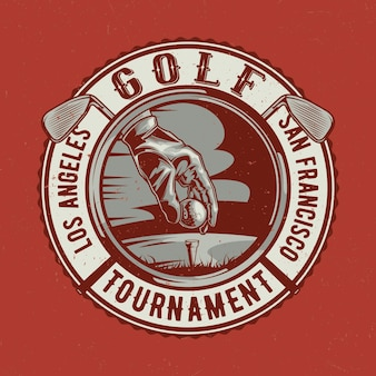 Golf theme t-shirt  design with illustration of player hand, ball and two golf clubs