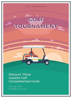 Torneo di golf poster piatto