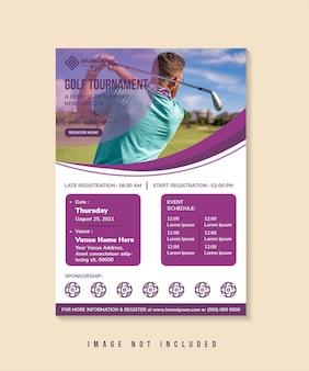 ゴルフトーナメントのチラシデザインテンプレートは、写真のコラージュのマルチカラーに垂直レイアウトの曲線スペースを使用します