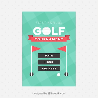 Golf tournament flyer in flat style