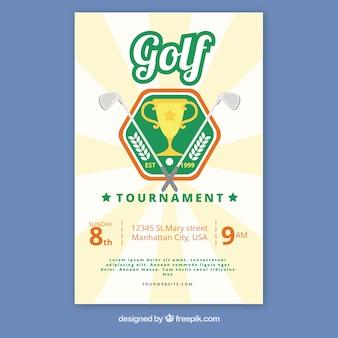 Флаер для турнира по гольфу в плоском стиле