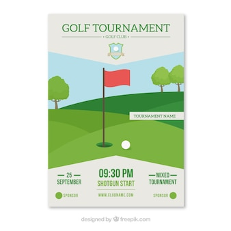 フラットスタイルのゴルフトーナメントチラシ