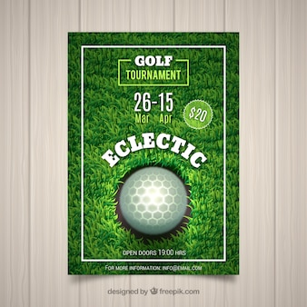 Golf tournament flyer in realistic style