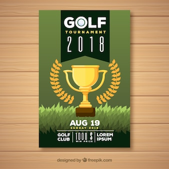 Golf tournament flyer with trophy