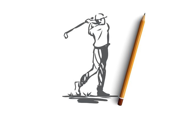 Golf, tournament, game, sport, golfer concept. hand drawn player on golf tournament concept sketch.   illustration.