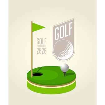 Golf tournament poster design template - golf club.