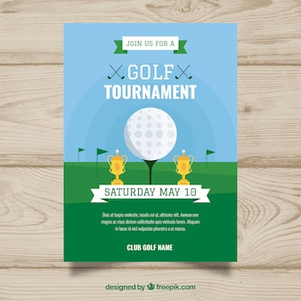 Golf tournament poster in flat style