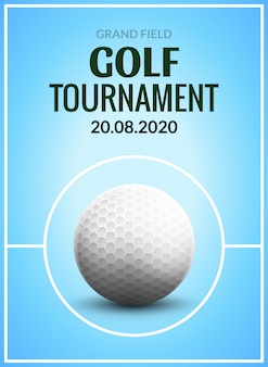 Golf tournament poster template flyer. golf ball on green grass for competition. sport club design