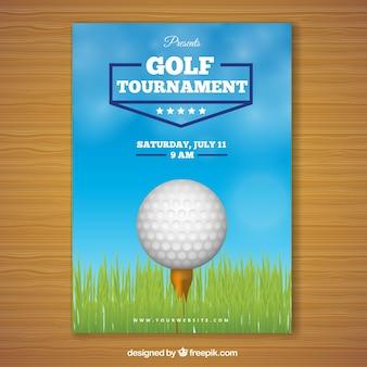 Плакат турнира по гольфу с мячом в середине
