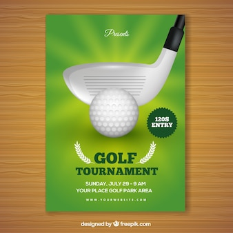 Golf tournament poster with club putting