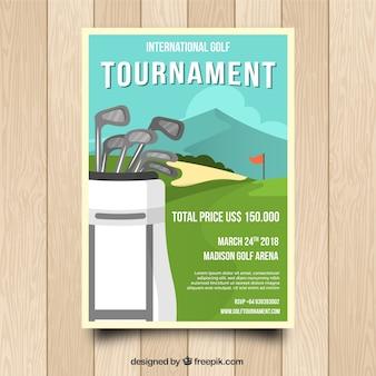 Плакат турнира по гольфу с клубами в сумке