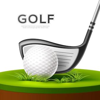 Плакат турнира по гольфу с реалистичным гольф-клубом