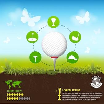 Гольф-мяч векторной концепции golf tournament world